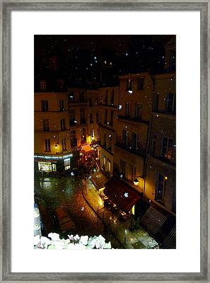Snowfall In Paris Latin Quarter Framed Print