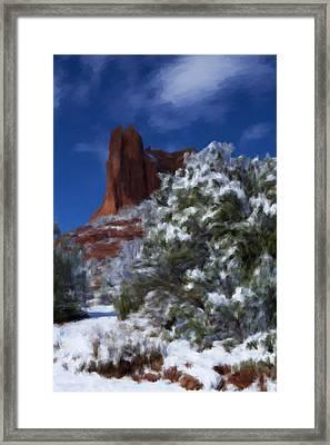 Snowfall In Sedona Framed Print
