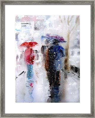 Snowing In The City Framed Print