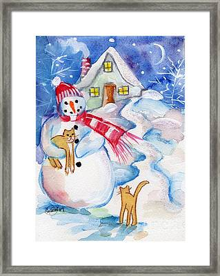 Snowman And Kitten Framed Print by Sylvia Pimental