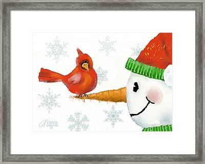 Framed Print featuring the digital art Snowman And The Cardinal by Arline Wagner