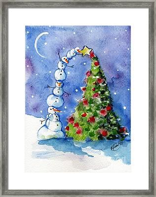 Snowman Christmas Tree Framed Print by Sylvia Pimental