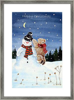 Snowman In Top Hat Framed Print by Gordon Lavender