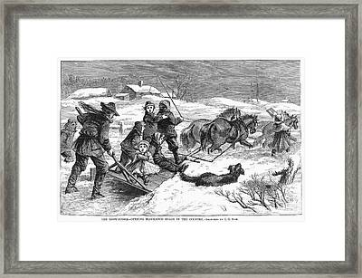 Snowstorm In The Country Framed Print