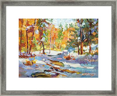 Snowy Autumn - Plein Air Framed Print by David Lloyd Glover