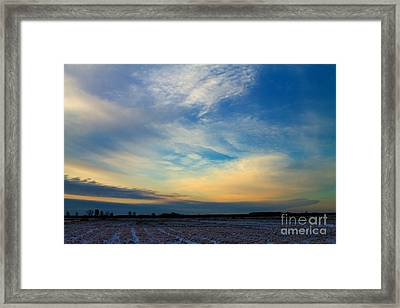 Snowy Field Sunset Framed Print by Ursula Lawrence