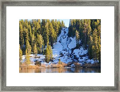 Framed Print featuring the photograph Snowy Heart Falls by Lynn Bauer
