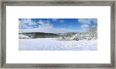 Snowy Hill Framed Print by Jan W Faul