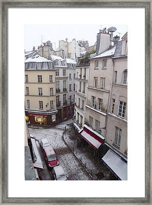 Snowy Morning Paris Latin Quarter Framed Print by Amelia Racca