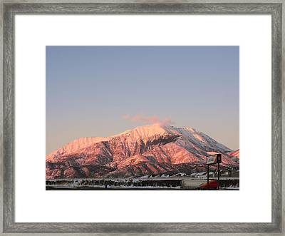Snowy Mountain At Sunset Framed Print by Adam Cornelison