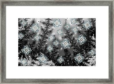 Snowy Night I Fractal Framed Print by Betsy Knapp
