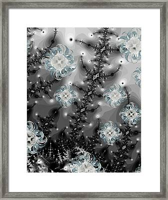 Snowy Night II Fractal Framed Print by Betsy Knapp