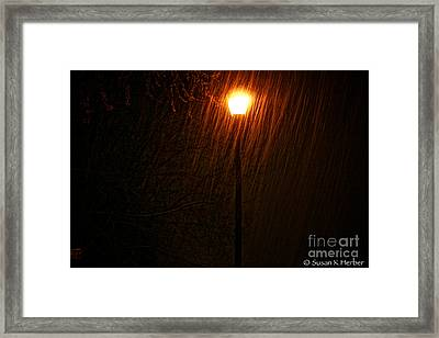 Snowy Night Framed Print by Susan Herber