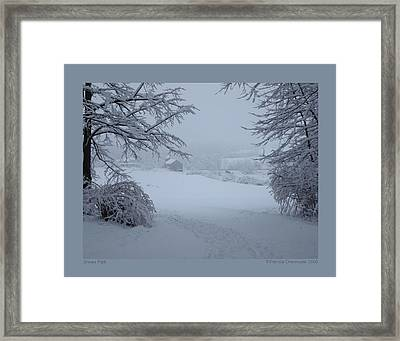 Framed Print featuring the photograph Snowy Path by Patricia Overmoyer