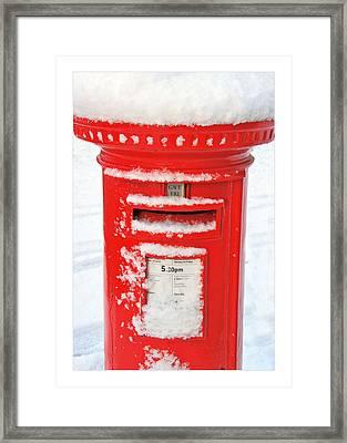 Snowy Pillar Box Framed Print by Mal Bray