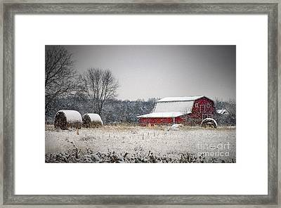 Snowy Red Barn Framed Print by Cheryl Davis