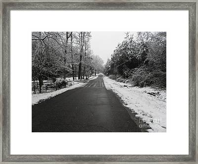 Snowy Street After A Winter Storm Framed Print by Cindy Hudson