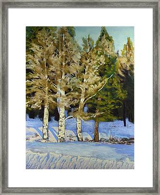 Snowy Sunset Aspen Framed Print