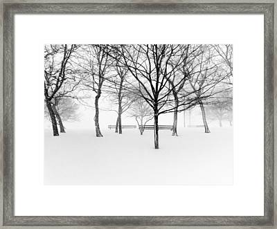 Snowy Trees And Park Benches Framed Print by Meera Lee Sethi