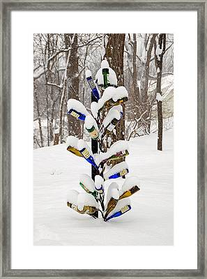 Snowy Wine Bottle Sculpture Framed Print by Aimee L Maher Photography and Art Visit ALMGallerydotcom