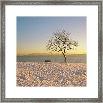 Snowy Winter Sunset Over The River Forth Framed Print by David McAllister
