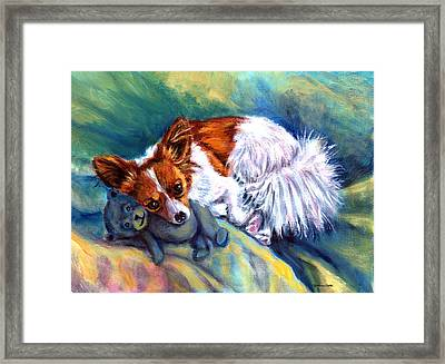 Snuggles - Papillon Dog Framed Print by Lyn Cook