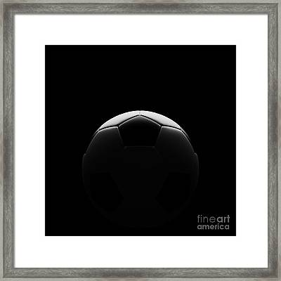 Soccer Ball On Black With Beautiful Back Lighting Framed Print by Chatuporn Sornlampoo