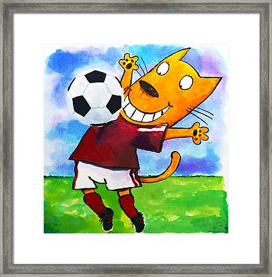 Soccer Cat 3 Framed Print by Scott Nelson