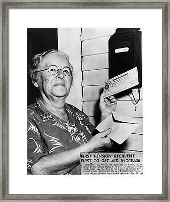 Social Security, 1940 Framed Print