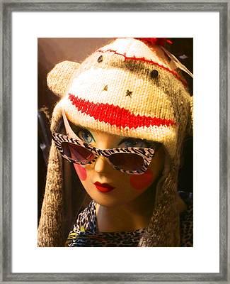 Sock Monkey Zebra Glasses Framed Print by Kym Backland
