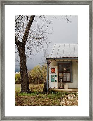 Soda Machine On Porch Framed Print by Jill Battaglia