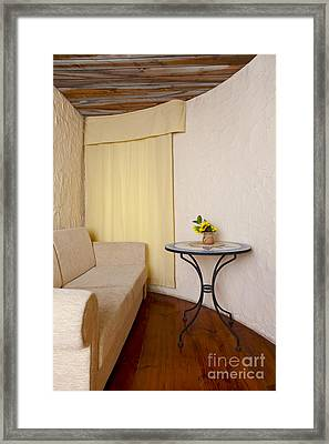 Sofa In Sitting Room With Window Framed Print