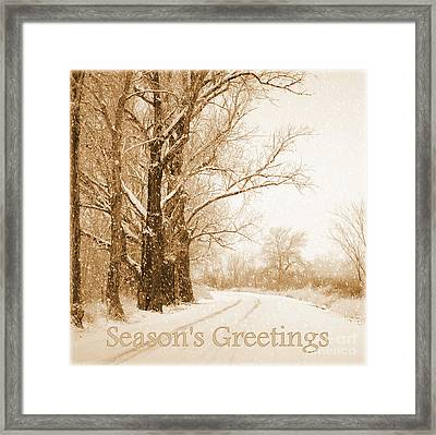 Soft Sepia Season's Greetings Framed Print