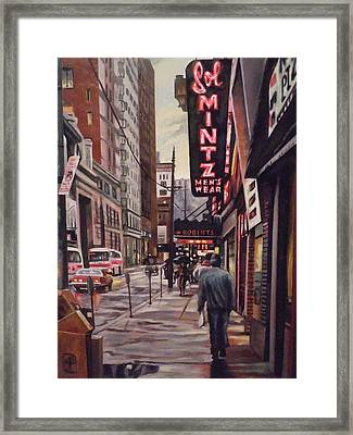 Framed Print featuring the painting Sol Mintz Men's Ware by James Guentner
