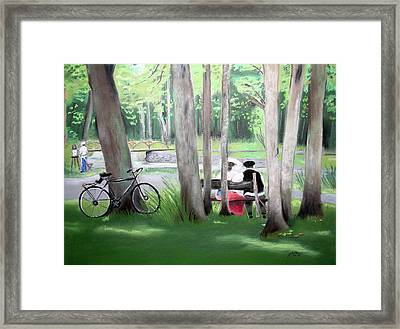 Solace In The Park Framed Print by Barbara Gulotta