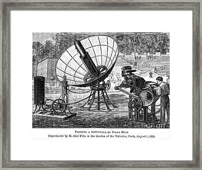 Solar Energy, 1882 Framed Print