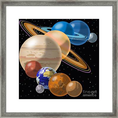 Solar System Framed Print by Mark Giles and Photo Researchers