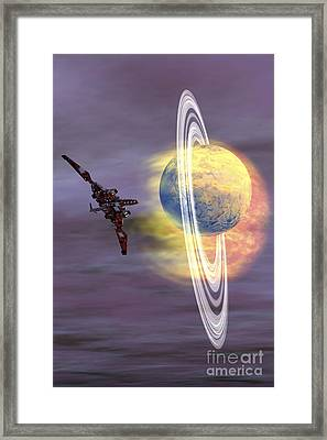 Solar Winds Hit A Ringed Planet Framed Print by Corey Ford