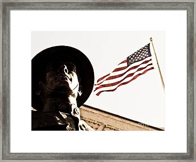 Soldier And Flag Framed Print by Syed Aqueel