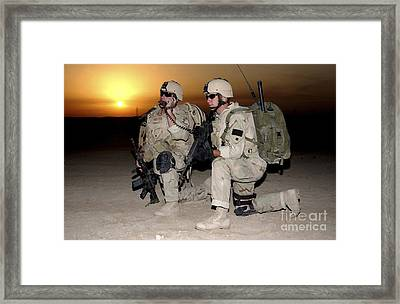 Soldiers Call In Air Support Framed Print by Stocktrek Images