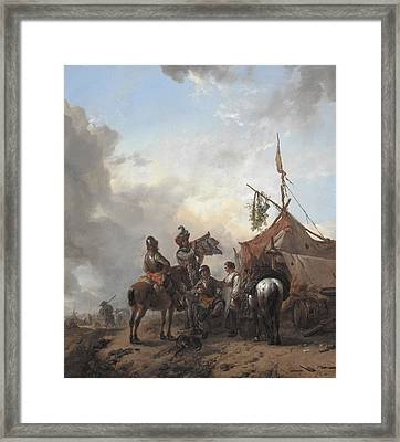 Soldiers Carousing With A Serving Woman Outside A Tent Framed Print by Philips Wouwerman
