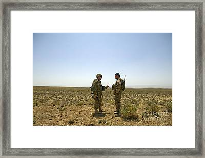 Soldiers Discuss, Drop Zone Framed Print by Stocktrek Images