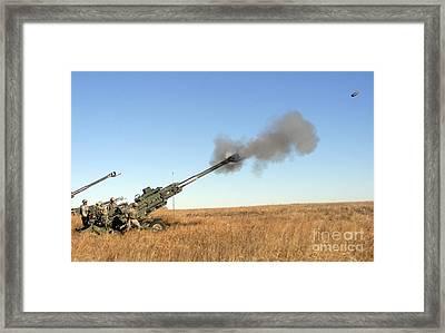 Soldiers Fire A 155mm M777 Lightweight Framed Print