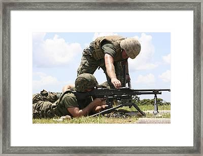 Soldiers Fire A M240g Medium Machine Framed Print by Stocktrek Images
