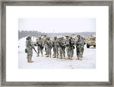Soldiers Listen To A Safety Briefing Framed Print