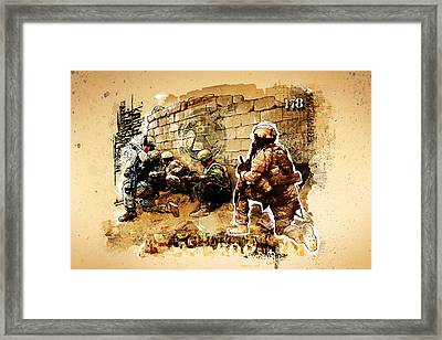 Soldiers On The Wall Framed Print