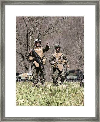 Soldiers Perform A Site Survey In Camp Framed Print by Stocktrek Images