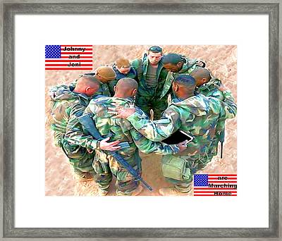 soldiers Praying Framed Print by Terri Mertz