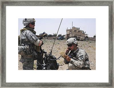 Soldiers Setting Up A Satellite Framed Print by Stocktrek Images