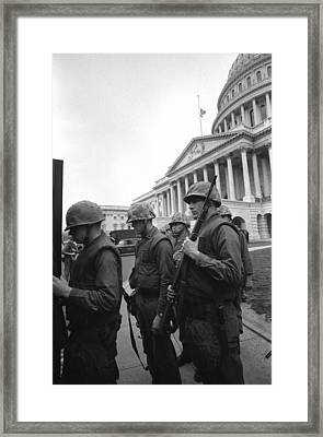 Soldiers Stand Guard Near Us Capitol Framed Print by Everett